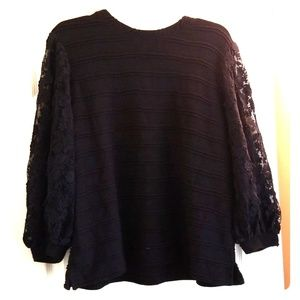 Anthropologie Long Sleeve Lace/Knit Black Sweater